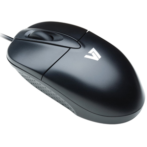 V7 M30P10-7E Mouse - USB - Optical - 3 Button(s) - Silver, Black - Cable - 1000 dpi - Scroll Wheel