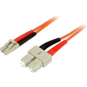 StarTech.com 3m Fiber Optic Cable - Multimode Duplex 50/125 - LSZH - LC/SC - OM2 - LC to SC Fiber Patch Cable - 2 x LC Mal