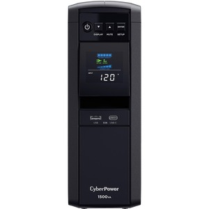 CyberPower PFC Sinewave CP1500PFCLCD - Capacity: 1500VA / 1000W - 1500VA/1000WTower 1.98Minute Full Load - 10 x NEMA 5-15R