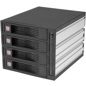 "4 Drive 3.5in Trayless Hot Swap SATA Mobile Rack Backplane - 4 x HDD Supported - 4 x 3.5"" Bay - Aluminium"