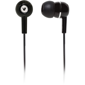 V7 HA100-2EP Wired Earbud Binaural Stereo Earphone - Black - In-ear - 32 Ohm - 20 Hz to 20 kHz - 1.20 m Cable - Mini-phone