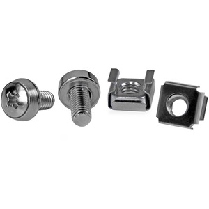 StarTech.com 50 Pkg M6 Mounting Screws and Cage Nuts - Cage Nut, Rack Screw - Stainless Steel - Silver - 1Pack
