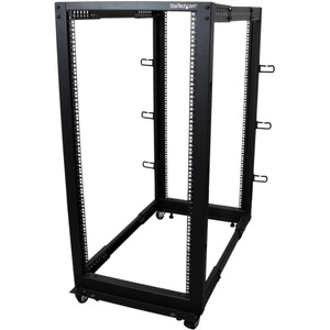 StarTech.com 25U Open Frame Server Rack - Adjustable Depth - 4-Post Data Rack - w/ Casters/Levelers/Cable Management Hooks