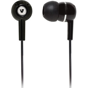 V7 HA110-BLK-12EB Wired Earbud Stereo Earset - Black - Binaural - In-ear - 32 Ohm - 120 cm Cable - Mini-phone (3.5mm)