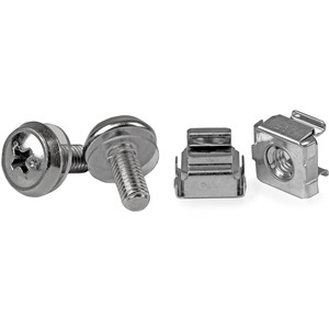StarTech.com CABSCREWM5 Nut, Screw - TAA Compliant - Cage Nut, Rack Screw - 12 mm - Stainless Steel - Silver - 1Bag