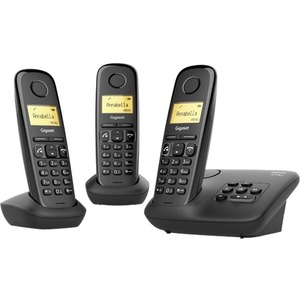 Gigaset A270A Trio DECT Cordless Phone - Black - Cordless - Corded - 1 x Phone Line - 3 x Handset - 1 Simultaneous Calls -