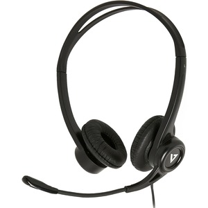 V7 HU311-2EP Wired Over-the-head Stereo Headset - Black - Supra-aural - 32 Ohm - 20 Hz to 20 kHz - 180 cm Cable - Noise Ca