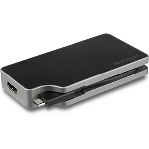 StarTech.com USB C Multiport Video Adapter 4-in-1 - 95W Power Delivery - Space Gray - Aluminum - 4K60Hz - Wrap-Around Cabl