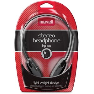 Maxell HP-100 Lightweight Stereo Headphone - Stereo - Black - Mini-phone - Wired - 20 Hz 20 kHz - Nickel Plated Connector