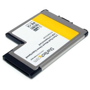 StarTech.com 2 Port Flush Mount ExpressCard 54mm SuperSpeed USB 3.0 Card Adapter with UASP - Dual Port Laptop ExpressCard