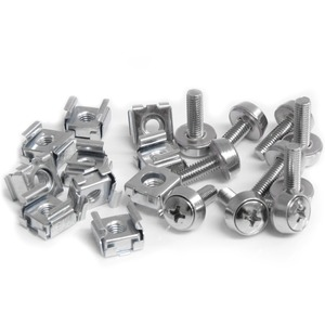 StarTech.com 50 Pkg M5 Mounting Screws and Cage Nuts for Server Rack Cabinet - Cage Nut, Rack Screw - 12 mm - Stainless St