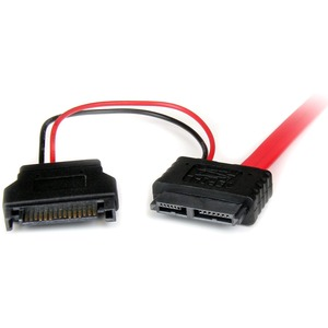 StarTech.com 0.5m Slimline SATA Female to SATA with SATA Power Cable Adapter - First End: 1 x Female SATA - Second End: 1
