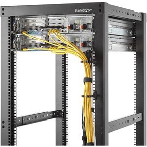StarTech.com Anilla Pasacables en D Vertical 1U para Gestión de Cableado en Armarios Racks - Guiacables 4,5x10cm - 1U Altu