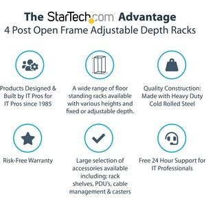StarTech.com 42U 4 Post Open Frame Server Rack - Floor Standing Network Data Cabinet (4POSTRACK42) - Store your servers, n