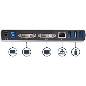 StarTech.com Dual Monitor USB 3.0 Docking Station w/ DVI to VGA & HDMI Adapters, 5x USB 3.0 & Audio - Vertical DVI Dock fo