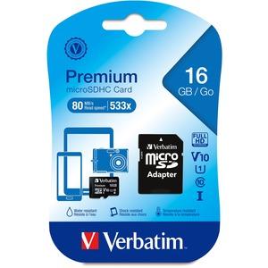 Verbatim 16 GB Class 10/UHS-I (U1) microSDHC - 1 Pack - TAA Compliant - 45 MB/s Read