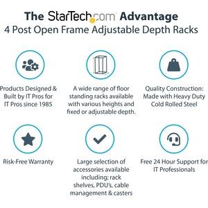 StarTech.com Armadio Server Rack con 4 staffe a Telaio Aperto 12U con profondita' regolabile - 544 g Static/Stationary Wei