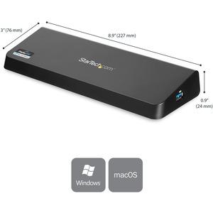 StarTech.com Docking Station Laptop universale USB 3.0 a doppia uscita video 4K DisplayPort / HDMI - Gbe + porta USB a ric