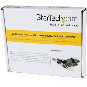 StarTech.com PEX2S553 Serial Adapter - Low-profile Plug-in Card - PCI Express - PC, Mac, Linux - 2 x Number of Serial Port
