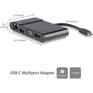 StarTech.com USB C Multiport Adapter - USB Type C to 4K HDMI / USB 3.0 / VGA / Gigabit Ethernet - USB C Hub - USB-C Adapte