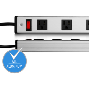 V7 8-Outlet Horizontal Industrial Metal Power Strip 125V, 15A, 12-ft. Cord, 5-15R - 8 x NEMA 5-15R - 12 ft Cord - 15 A Cur