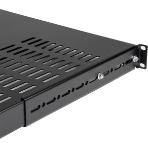 StarTech.com 1U Rack Shelf - 482.60 mm Rack Width x 972.82 mm Rack Depth - Black - TAA Compliant - SPCC - 113.40 kg Static