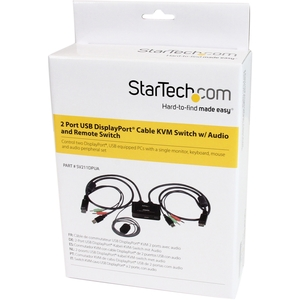 StarTech.com 2 Port USB DisplayPort Cable KVM Switch w/ Audio and Remote Switch - USB Powered - 2 Computer(s) - 1 Local Us