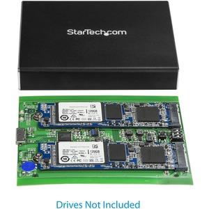 StarTech.com Dual M.2 Enclosure - RAID - M.2 SATA SSD Enclosure - USB 3.1 (10 Gbps) - USB-C & USB-A External Enclosure - A