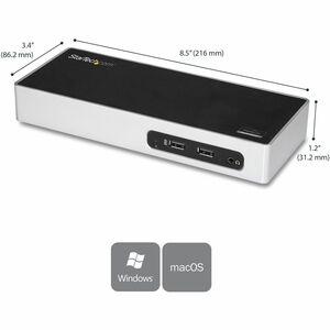 StarTech.com USB 3.0 Docking Station for Notebook - 40 W - 2048 x 1152, 1920 x 1200 - 7 x USB Ports - 7 x USB 3.0 - 4 x US
