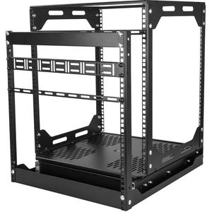 """12U Sliding Rotating Open Frame Network Rack - 4 Post AV /Data Rack - 16.7"""" Deep Slide-Out IT Equipment Rack w/Cable Manag"""