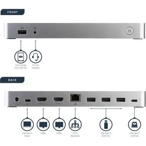 StarTech.com Docking Station USB-C de Dos Monitores para Ordenador Portátil - Replicador de Puertos USBC para Windows MST