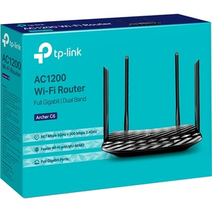 TP-Link Archer C6 Wi-Fi 5 IEEE 802.11ac Ethernet Wireless Router - 2.40 GHz ISM Band - 5 GHz UNII Band - 5 x Antenna(1 x I