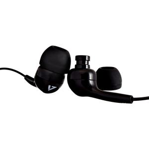 V7 HA105-3EB Wired Earbud Binaural Stereo Earphone - Black - In-ear - 32 Ohm - 20 Hz to 20 kHz - 1.20 m Cable - Mini-phone