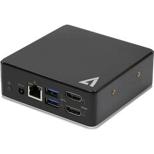 V7 UCDDS1080P USB Type C Docking Station for Desktop PC - 85 W - Black - 4 x USB Ports - USB Type-C - Network (RJ-45) - HD