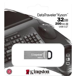 Unidad flash Kingston DataTraveler Kyson - 32 GB - USB 3.2 (Gen 1) Tipo A - Plata - 200 MB/s Read Speed - 1 Pieza