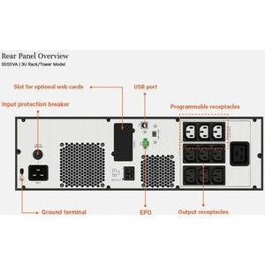 VERTIV EDGE EDGE-3000IRT3UXL Line-interactive UPS - 3 kVA/2.70 kW - 3U Rack/Tower - AVR - 3 Hour Recharge - 6 Minute Stand