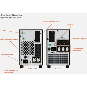 VERTIV EDGE EDGE-1000IMT Line-interactive UPS - 1 kVA/900 W - 1U Tower - AVR - 3 Hour Recharge - 5 Minute Stand-by - 230 V