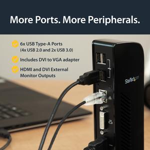 StarTech.com Docking Station USB 3.0 para Dos Monitores con HDMI - DVI - 6x Puertos USB - 2 Displays Supported - 1920 x 12