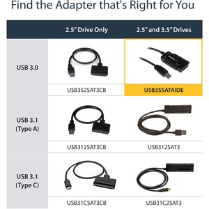 StarTech.com USB 3.1 (10 Gbps) Adapter Cable for 2.5in and 3.5in SATA SSD/HDD Drives - Supports SATA III - Tool-free Cable