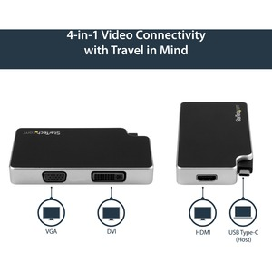 StarTech.com A/V Adapter - 1 Pack - 1 x Type C Male USB - 1 x HD-15 Female VGA, 1 x DVI-I Female Video, 1 x HDMI Female Di