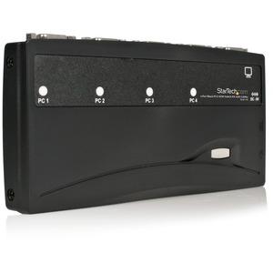 StarTech.com 4 Port Black PS/2 KVM Switch Kit with Cables - 4 Port PS2 KVM Switch - KVM Switch with Cables - VGA KVM Switc
