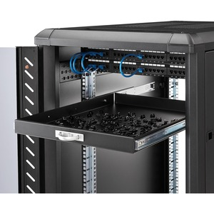 22in Black Deep Sliding Server Rack Cabinet Shelf - 25 kg Static/Stationary Weight Capacity