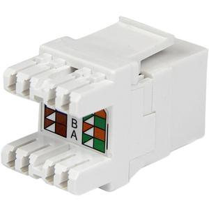StarTech.com 180° Cat 6 Keystone Jack - RJ45 Ethernet Cat6 Wall Jack White - 110 Type - 1 x RJ-45 Female - White