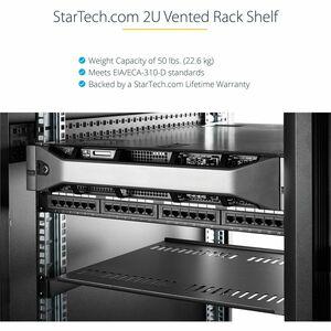 StarTech.com 2U 16in Universal Vented Rack Mount Cantilever Shelf - Fixed Server Rack Cabinet Shelf - 50lbs / 22kg - 16in