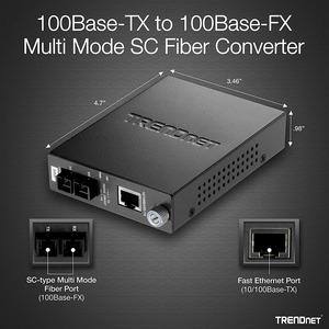 Convertitore file multimediali/ricetrasmettitore TRENDnet TFC-110MSC - Nuovo - 2 Porta(e) - 1 x Rete (RJ-45) - 1 x SC - 10