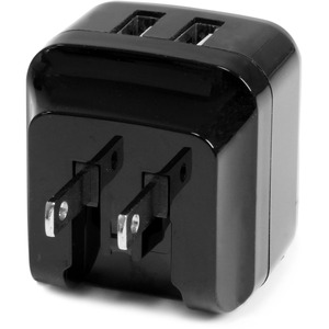 StarTech.com Travel USB Wall Charger - 2 Port - Black - Universal Travel Adapter - International Power Adapter - USB Charg