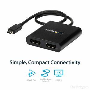 StarTech.com Divisor Multiplicador USB-C a DisplayPort de 2 Puertos - Hub Concentrador MST para 2 Monitores - 3840 × 2160
