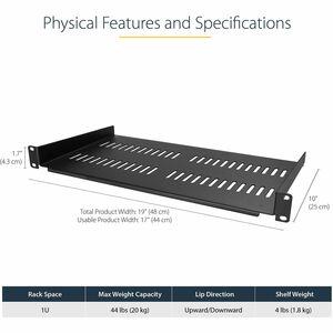 StarTech.com Scaffale Ventilato per Rack Server 1U - Profondità da 250 mm - 20,05 kg Capacità massima di peso