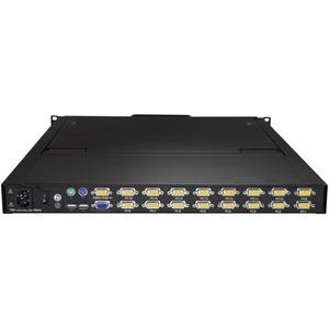 "StarTech.com 16 Port Rackmount KVM Console w/ Cables - Integrated KVM Switch w/ 19"" LCD - 1U LCD KVM Drawer 50000 MTBF - U"