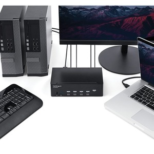 StarTech.com KVM Switchbox - TAA Compliant - 4 Computer(s) - 1 Local User(s) - 3840 x 2160 - 10 x USB - 10 x HDMI - Rack-m
